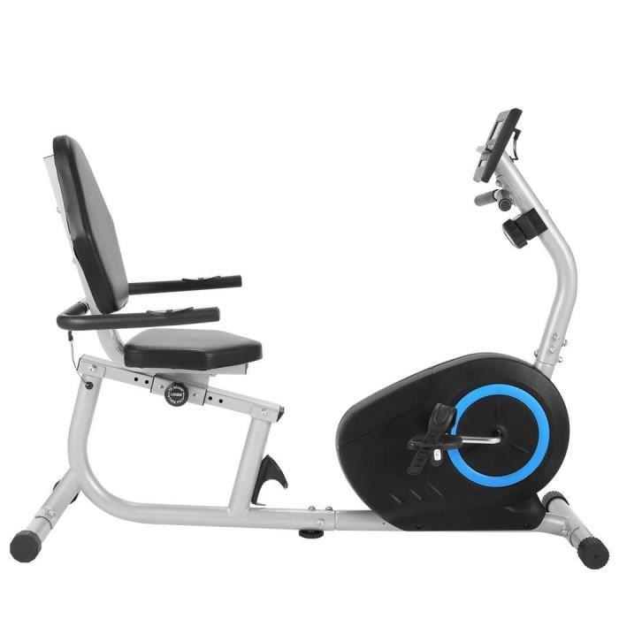 Vélo d'appartement semi-allongé-Vélo Couché Dossier Magnétique-8 Niveaux de résistance support de Tablette/Capteurs de Pouls-Gris