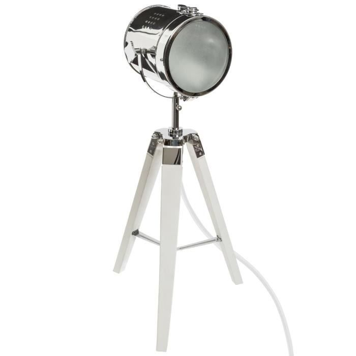 Lampe à poser en métal et bois - H 68 cm - Blanc