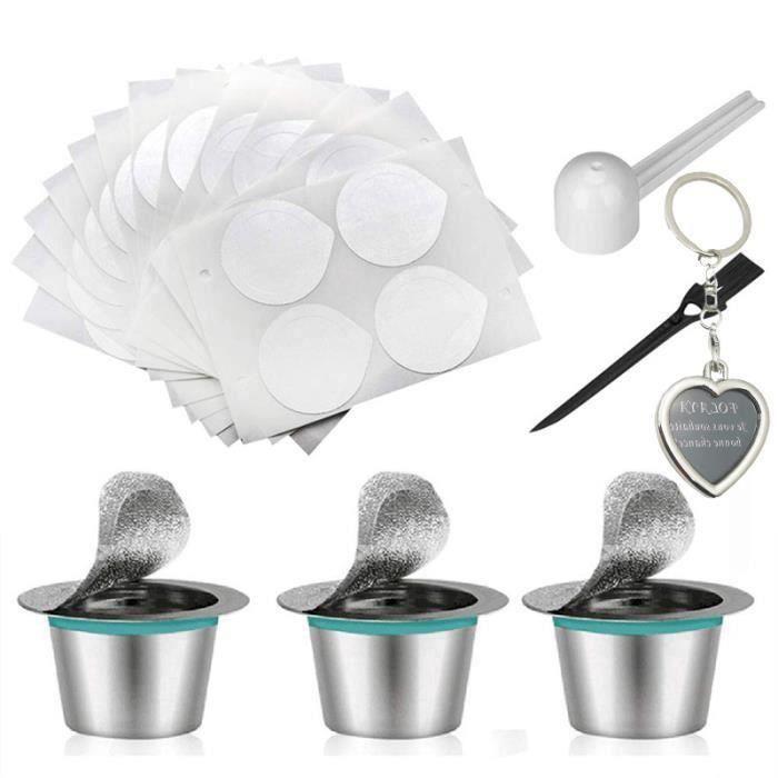 3 Pcs Capsules de Café Nespresso Capsules pour Café Rechargeables Inox avec 60pcs Foil Seals,1 Cuillere à Cafe et 1 Brosse SCB31