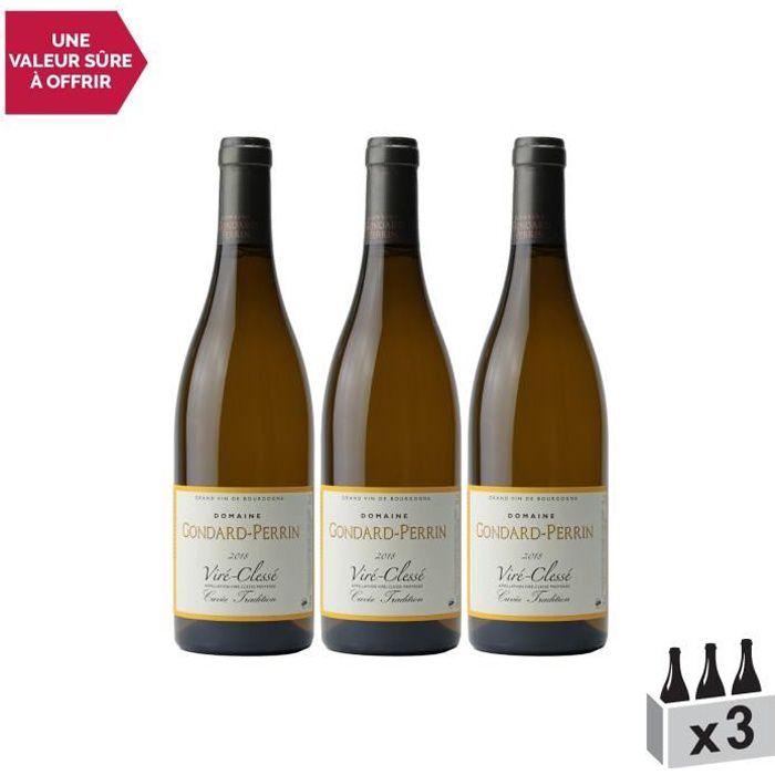 Viré-Clessé Tradition Blanc 2018 - Lot de 3x75cl - Domaine Gondard Perrin - Vin AOC Blanc de Bourgogne - Cépage Chardonnay