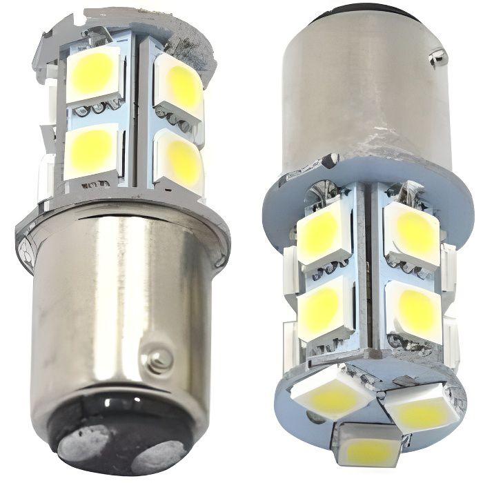 Ampoule LED BAY15D P21/5W 13 SMD 6000K Blanc Veilleuse Feux arrière 12V