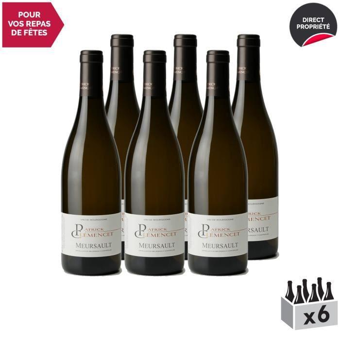 Meursault Blanc 2018 - Lot de 6x75cl - Patrick Clémencet - Vin AOC Blanc de Bourgogne - Cépage Chardonnay