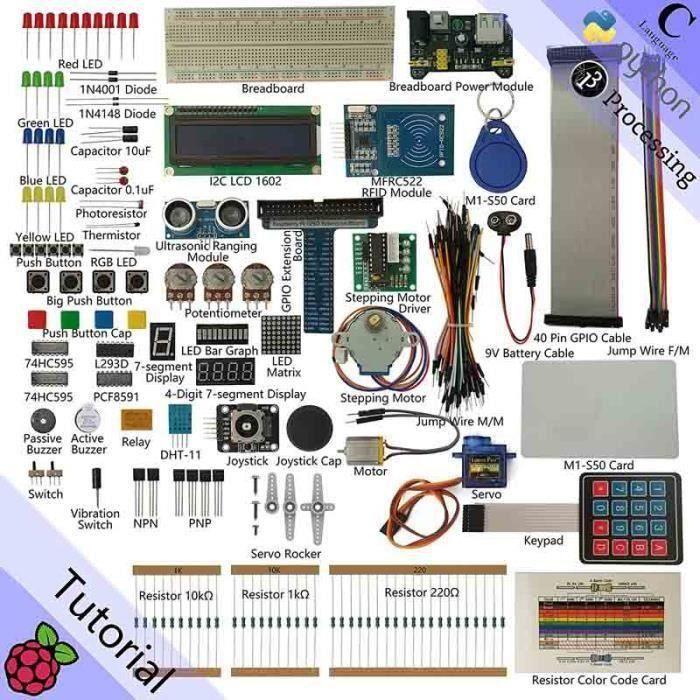 RFID Starter Kit for Raspberry Pi - Beginner Learning - Model 3B, 2B, B+ - Python, C, Java, Processing - 53 Projects, 200+ Compon