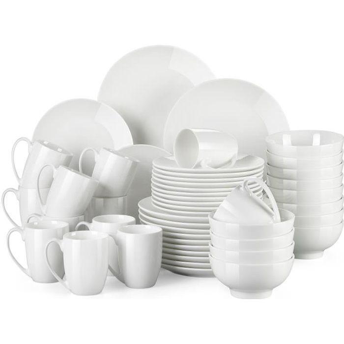 Service de Table en Porcelaine - Service Vaiselle Complet 48 Pièces pour 12 Personnes - Blanc - LOVECASA Série Sweet