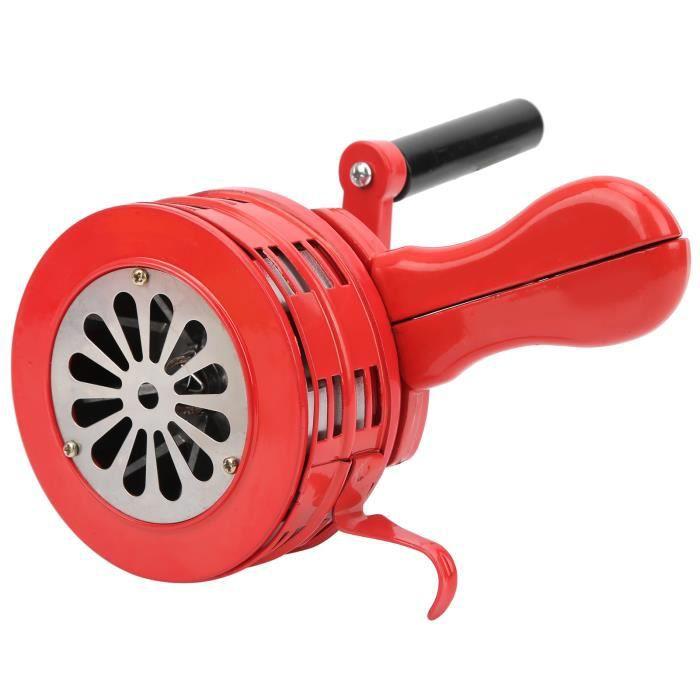 Ashata Sirène à manivelle Alarme manuelle portative rouge de sirène de manivelle pour les troupes d'écoles alarmant 120DB