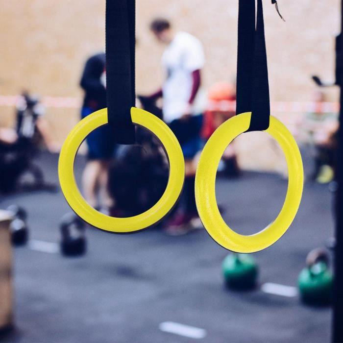 ARAMOX anneau de gymnastique de forme physique ABS Gymnastic Rings Gym Fitness Training Exercise Tool avec sangles jaune