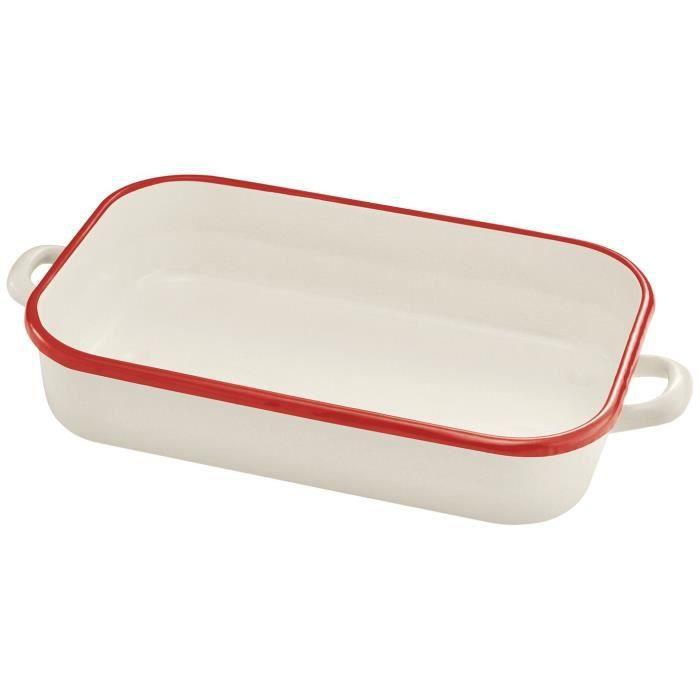 BEKA Plat à four Bohème émail - Ø 32 cm - Blanc et rouge