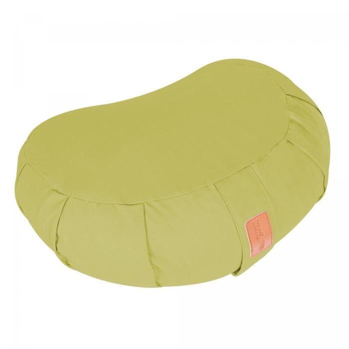 Coussin de méditation demi-lune vert clair - Hauteur d'assise : 19 cm - Coussin de yoga avec rembourrage en balles d'épeautre