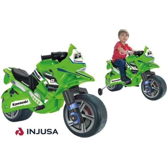 Moto enfant Kawasaki 6V verte - INJUSA - à partir de 3 ans