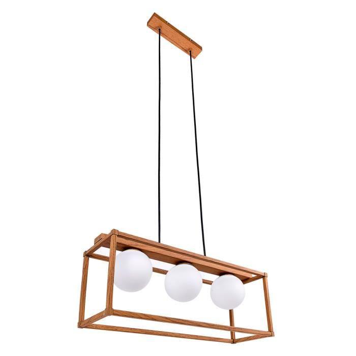 Suspension GLOB métal imitation bois et verre opale (3x5W)