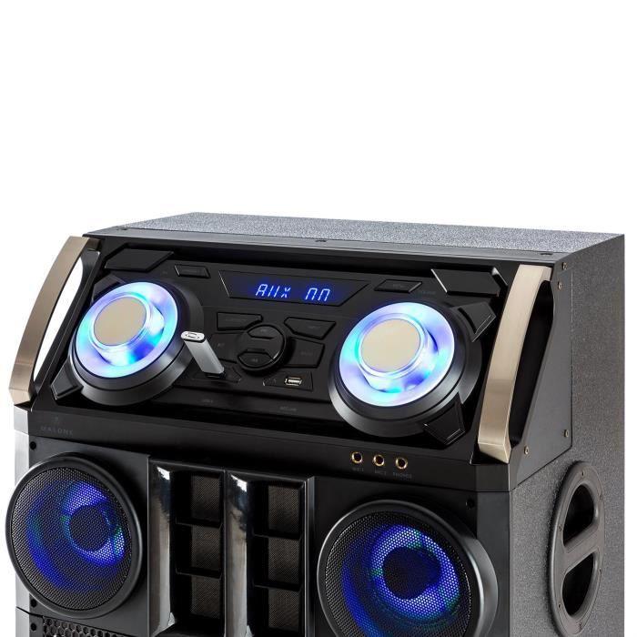 Malone Big Party 1500 Système audio DJ Bluetooth USB MP3 FM AUX LED