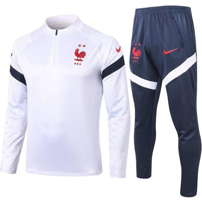 France - Maillot de Foot Enfants Garçon Homme 2020-2021 Ensemble Survêtements D'entraînement de Football(Haut + Pantalon)