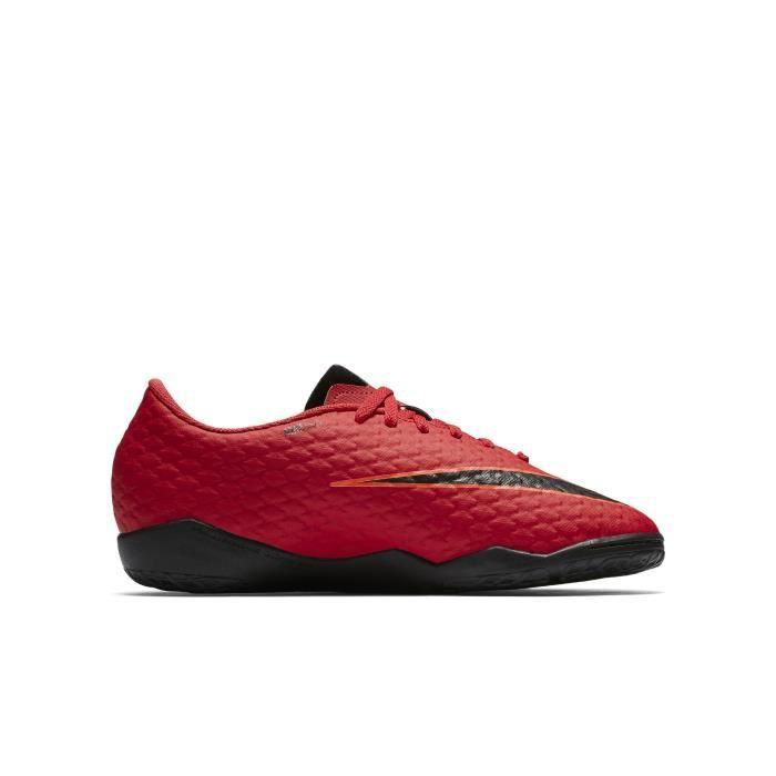 Nike Jr. HypervenomX Phelon 3, Intérieur, Enfant, Mâle, Semelle d'intérieur, Noir, Rouge, Monotone