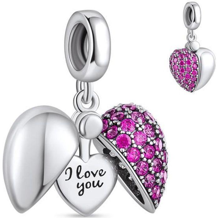 NINGAN Coeur Rouge Breloque Charmes Argent Sterling 925 Amour Perles Compatible avec les bracelets et collier Pandora