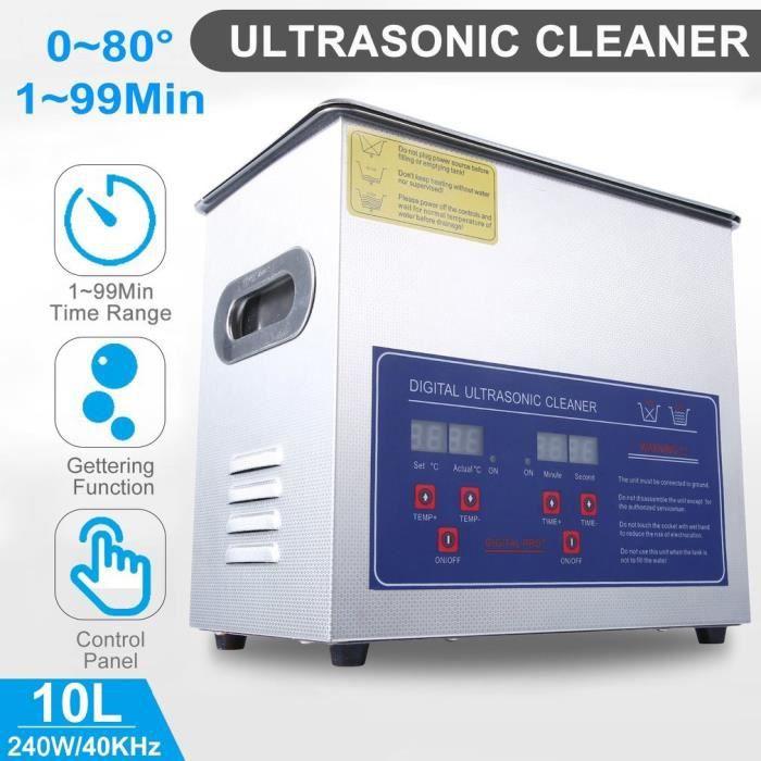10L Nettoyeur à ultrasons de Bijoux Réservoir Automatique pour Lunettes Bagues Colliers Dentures Montres