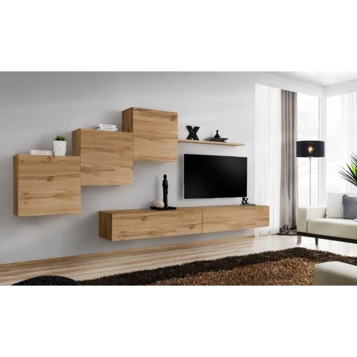 Ensemble meuble salon mural SWITCH X design, coloris chêne Wotan. 40 Marron