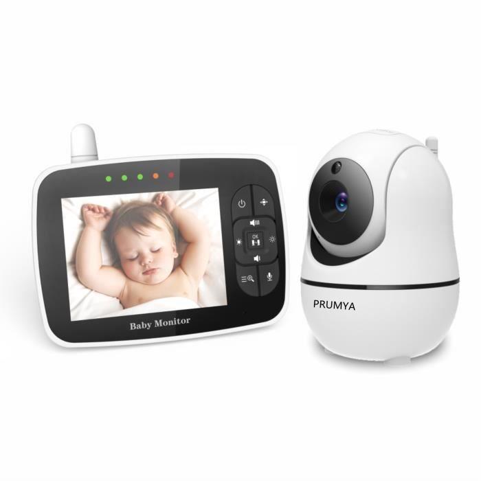 PRUMYA Babyphone 3.5- LCD Moniteur vidéo bébé,caméra à distance Pan-Tilt-Zoom, affichage de la température, berceuse