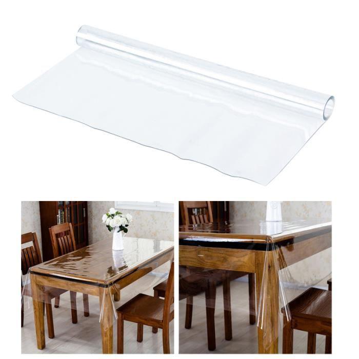 1 pc 160x90 nappe en verre souple étanche Transparent à l'huile couverture de Table pour salle à manger NAPPE DE TABLE