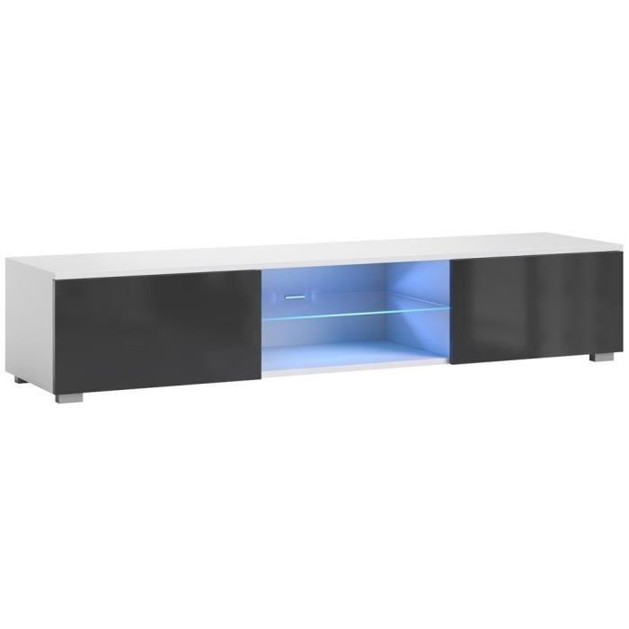 Bridgette Meuble TV Hi-Fi blanc mat et noir brillant 40 X 140 X 36 CM meuble de salon séjour