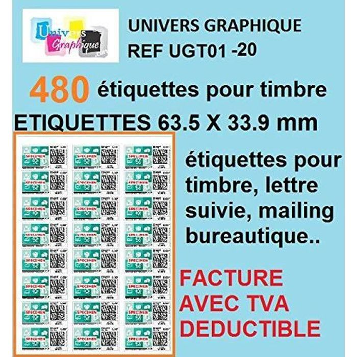 480 étiquette pour timbre 20 planches de 24 étiquettes soit 480 étiquettes pour timbre 63,5 x 33,9 mm L7159