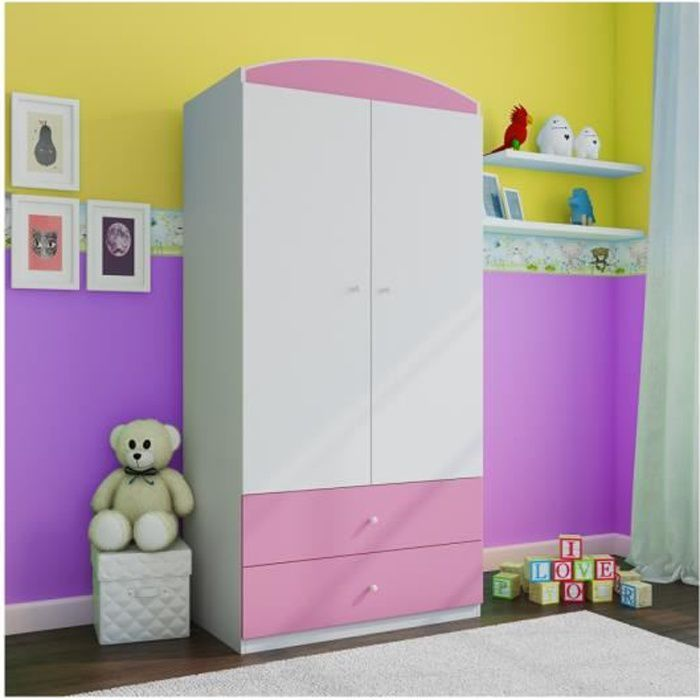 armoire enfant 2 tiroirs rose achat vente armoire de. Black Bedroom Furniture Sets. Home Design Ideas