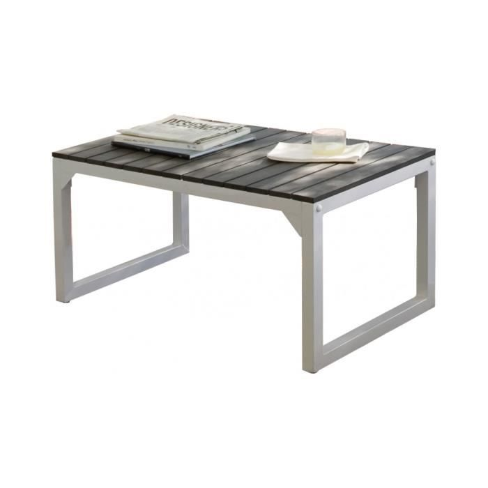 Table basse aluminium et r sine ardoise achat vente for Table en aluminium exterieur