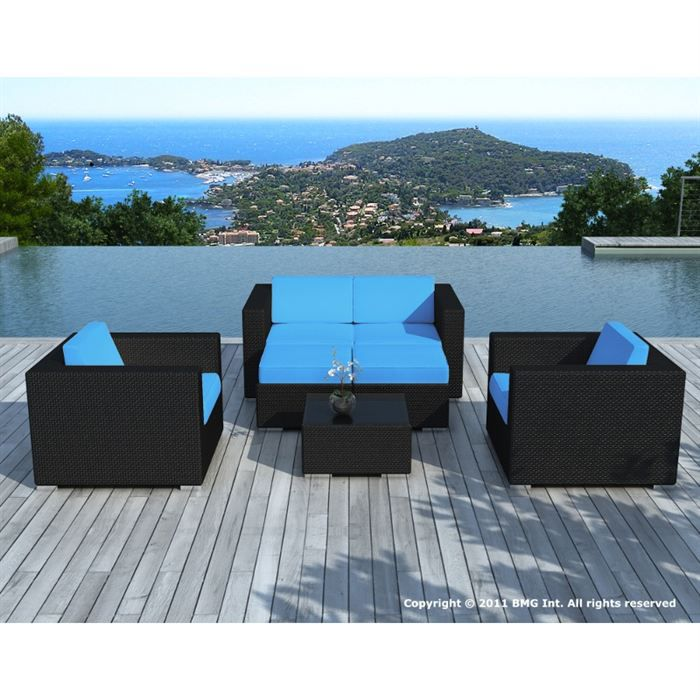 salon de jardin noire coussin bleu sd9505 achat vente salon de jardin salon de jardin. Black Bedroom Furniture Sets. Home Design Ideas