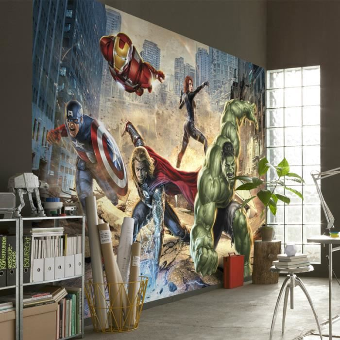 papier peint enfant avengers street rage marvel achat vente papier peint cdiscount. Black Bedroom Furniture Sets. Home Design Ideas