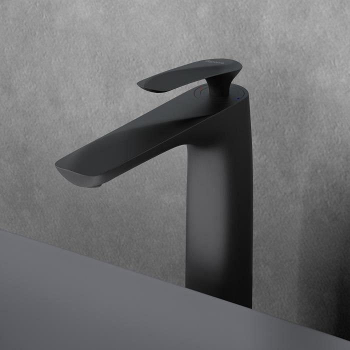 robinet pour lavabo et vasque mitigeur noir mat so