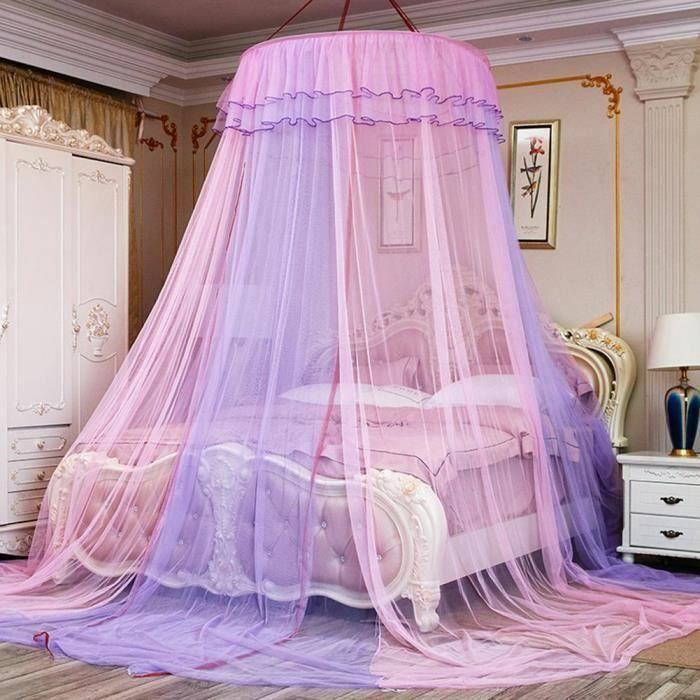 MOUSTIQUAIRE DE LIT ss-33-Filet de rideau de lit double en dentelle ro