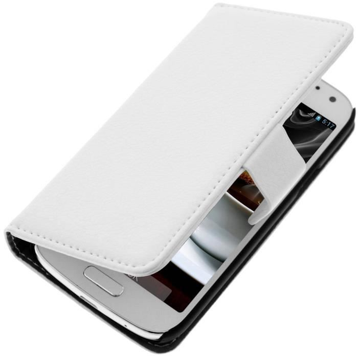 etui portefeuille samsung galaxy s4 mini blanc achat. Black Bedroom Furniture Sets. Home Design Ideas