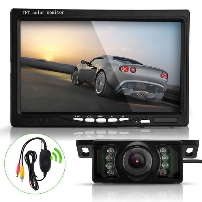aztek 7 lcd moniteur cam ra de recul pour voiture 120 7 leds nocturne tanche voiture. Black Bedroom Furniture Sets. Home Design Ideas
