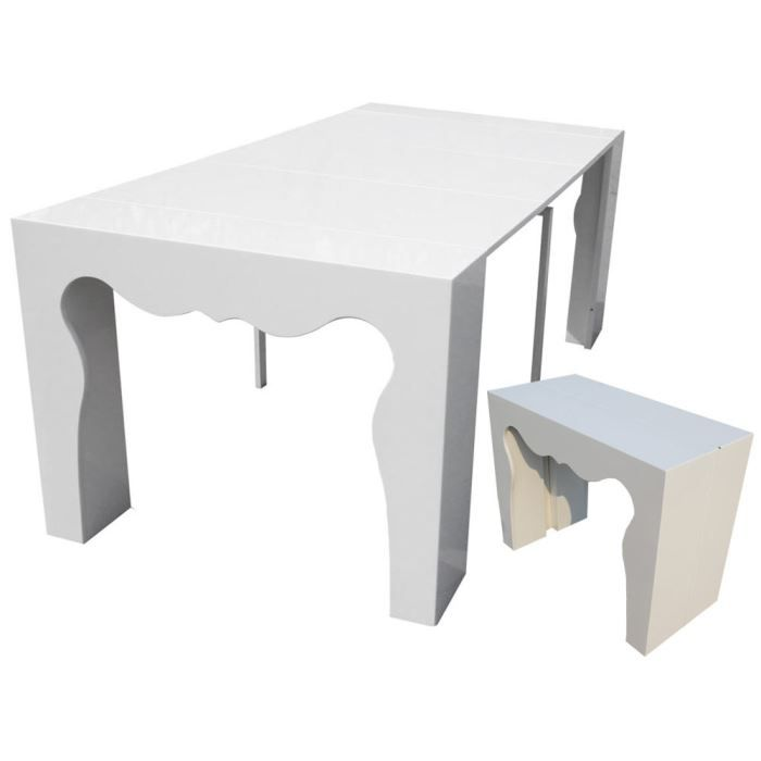Table repas extensible alicia blanc laqu achat for Table blanc laque rallonge