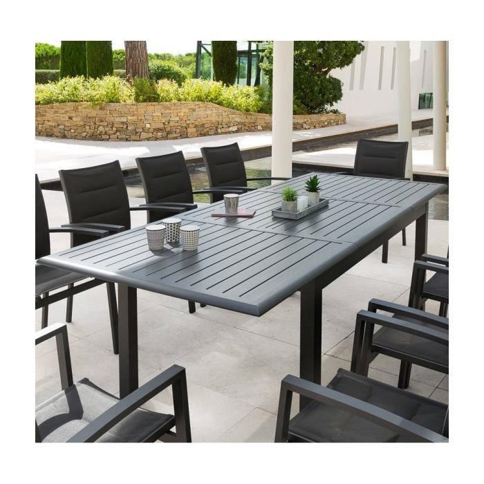 TABLE EXTENSIBLE AZUA 10 P. noir très légérement moucheté ...