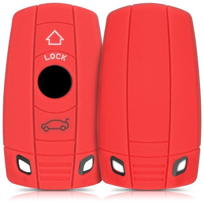 Keyless Go Uniquement kwmobile Accessoire cl/é de Voiture pour BMW 3-Bouton en Silicone Noir /Étui de Protection Souple Coque pour Clef de Voiture BMW