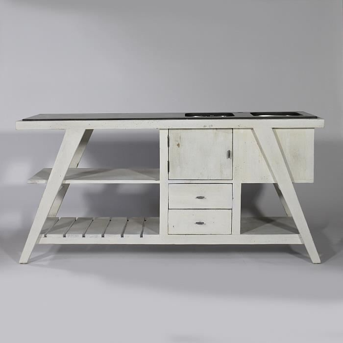 meuble de cuisine en vieux bois parkano blanc achat. Black Bedroom Furniture Sets. Home Design Ideas
