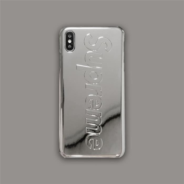 coque iphone 8 plus 7 plus supreme argent metal av
