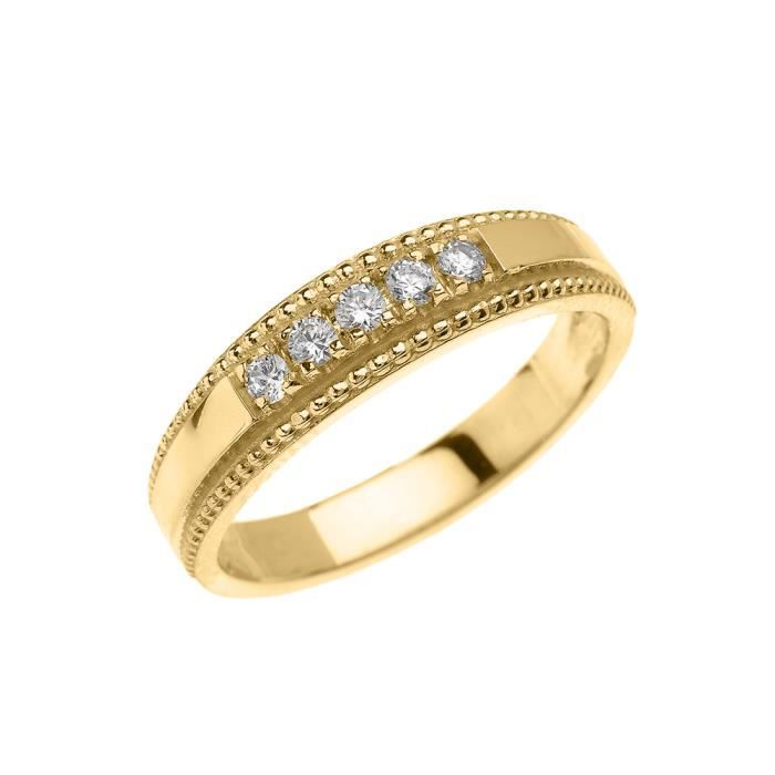 Bague Femme- Alliance 14 Ct Or Jaune Elégant Diamant