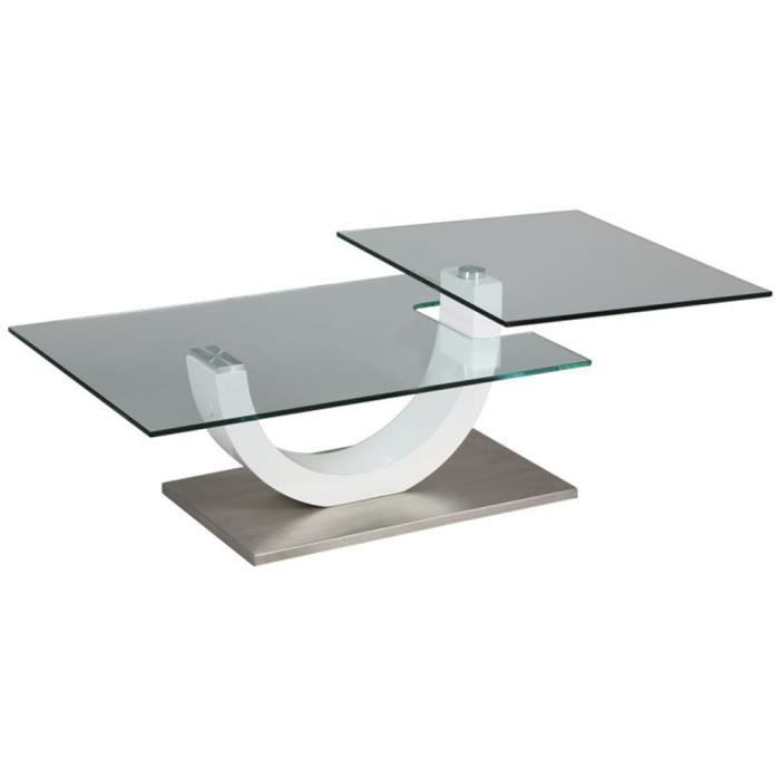 Table basse verre socle m tal blanc x x ht - Table basse metal et verre ...