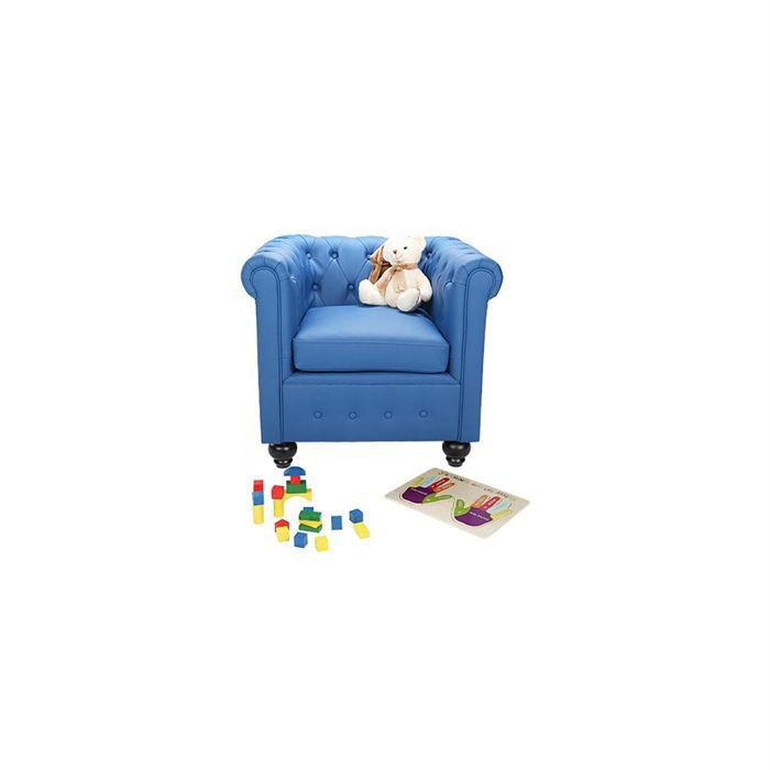 fauteuil chesterfield enfant bleu achat vente fauteuil. Black Bedroom Furniture Sets. Home Design Ideas