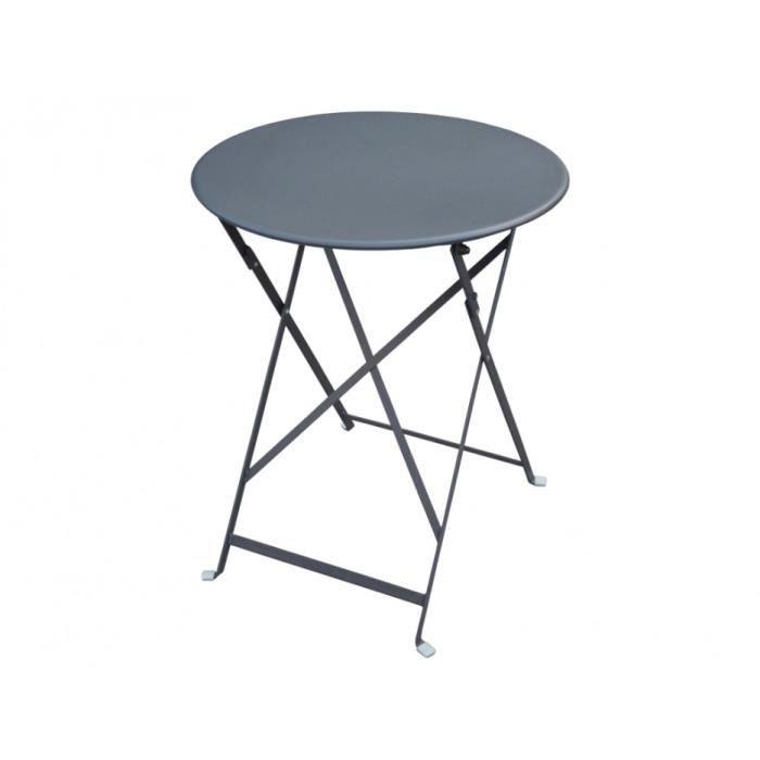 Petite table de jardin pliable en métal CANEBIERE - D.60cm ...