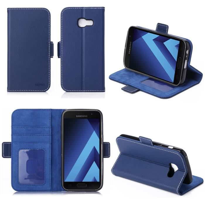 Etui coque portefeuille samsung galaxy a5 2017 4g bleu for Coque iphone 6 portefeuille