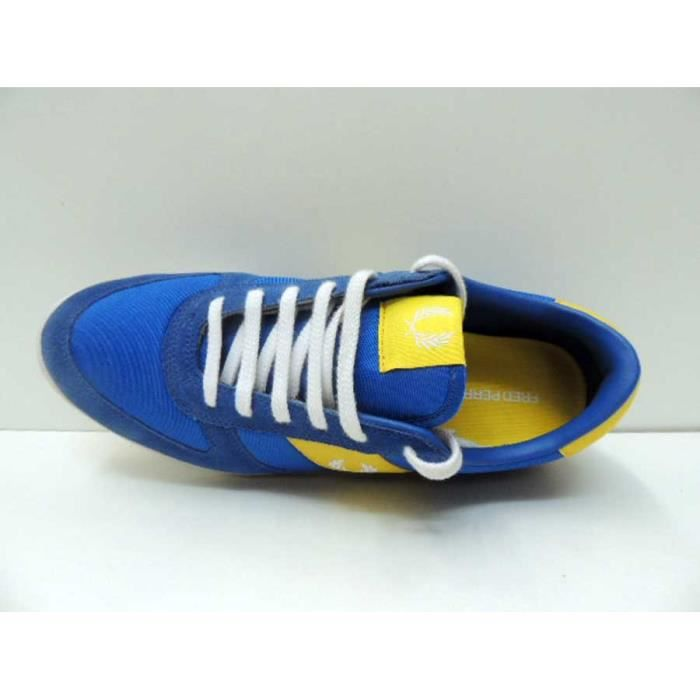 Chaussure Baskets Fred Perry B2043 Bleu Jaune Homme Pointure 44