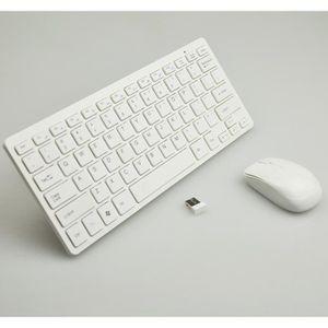 PACK CLAVIER - SOURIS Souris de clavier sans fil blanc ultra-mince de co