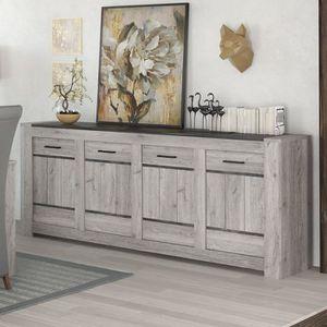 BUFFET - BAHUT  Enfilade 220 cm moderne couleur chêne gris ANGUS L