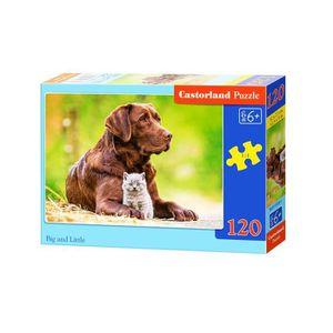 PUZZLE Puzzle de 120 pièces : Chat et chien : Big and Lit
