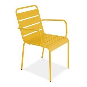 FAUTEUIL JARDIN  Chaise de jardin en métal Jaune