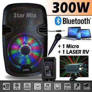 PACK SONO Enceinte mobile PARTY7 à LEDs RVB 300W + USB-BT-FM