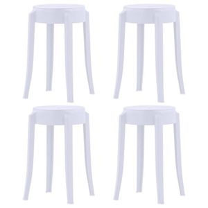 TABOURET DE BAR vidaXL 4 pcs Tabourets empilables Blanc Plastique