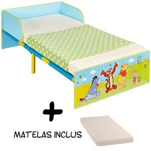 Lit enfant bois et métal Winnie l\'Ourson Disney + Matelas ...